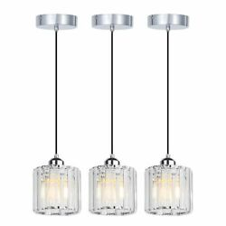 3 Pack Pendant Light Set Fixture Crystal Chandelier Glass Hanging Kitchen Island $47.79