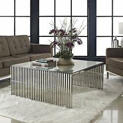 Modway Gridiron Coffee Table Silver New $681.18