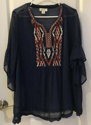 Style Co Plus Women 1X Embroidered Sheer Y Neckline Bell Sleeve Blue TUNIC Top $12.50