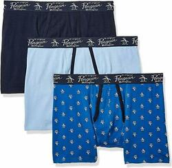 PENGUIN MEN PACK X3 BOXER BRIEF 8230 ROYAL PRINT XLARGE COTTON UNDERWEAR $27.98