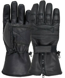 Men Motorcycle Gloves Geniune Leather Warm Winter Cold Weather Full Finger Glove $15.99