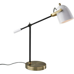 Adesso 3494-21 Casey Desk Lamp Black and White with Antique Brass