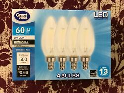 4 PACK LED 60W = 5.5W Candelabra Daylight Dimmable 60 Watt Equivalent 5000K bulb $10.94