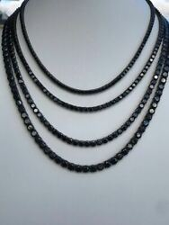 Black Diamond Tennis Chain SOLID 925 Sterling Silver Single Row ICY Mens 3 6mm $74.51