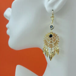 Tri Color Gold Plated Chandelier Stars n Coins Earrings Very Light Weight