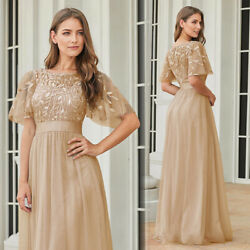 Ever-Pretty US Plus Size Short Sleeve Long Bridesmaid Dress A-Line Cocktail Gown $40.49