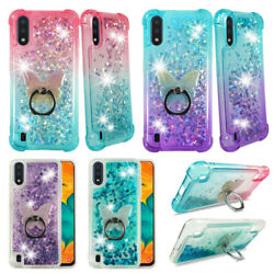 For Samsung Galaxy A01 5.7quot; Liquid Glitter Quicksand Soft Case w. Ring Stand $9.99