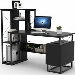 57'' Functional Writing Computer Desk with Corner Tower Shelves and Two Drawers