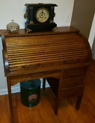 Antique Children's Eastman Line Oak Roll Top Desk 1940s