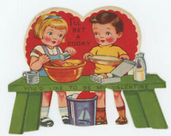 Lot of 8 Valentines Boy Girl Together Die Cut Used Golden Bell A Meri Card $32.50