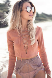 NWT Sabo Skirt · Orange Rust Burnt Laced Tie Crop Top Sweater SMALL AUS 8 $24.00