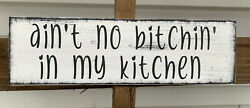 Farmhouse rustic wood sign NO BITCIN IN MY KITCHEN Home Decor small 12quot; $13.89