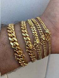 Miami Cuban Link Bracelet Solid 925 Sterling Silver 14k Gold Box Clasp 4 10mm $46.79