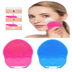 Silicone Electric Facial Cleansing Brush Sonic Face Cleaning Spa Massage Cleaner $10.79