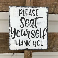 Farmhouse rustic Bathroom wood sign PLEASE SEAT YOURSELF Funny Toilet 5.5X5.5 $12.99
