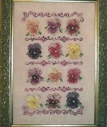 ANTIQUE SHADES All Colors of Flowers in a Row Counted Cross Stitch Pattern $9.50