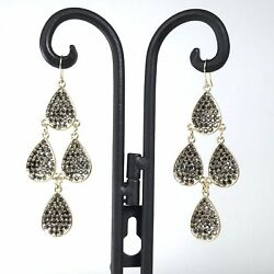 Chandelier Earrings Black Crystal Gold Tone Wedding Prom Party Statement 3 Inch