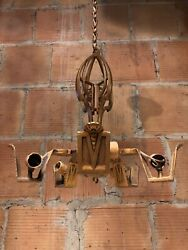 Antique Cast Iron Five Arm Art Deco Chandelier $219.00