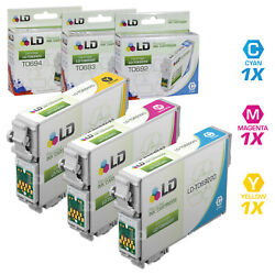 LD Reman Ink Cartridge for Epson T069 69 CMY Set of 3: T069220 T069320 T069420 $14.99