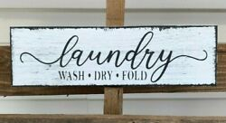 Farmhouse rustic wood sign Laundry Room Home Decor Wash Fold Dry small 12quot; $12.99