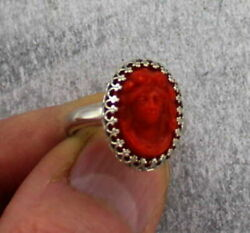 Vintage Antique Red Coral Cameo Ring Size 8 Vintage Resin Ring .952 Sterling $29.95