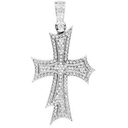 Huge Designer Diamond Cross Pendant 2.90CT in 14K White Gold