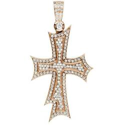 Huge Designer Diamond Cross Pendant 2.90CT in 14K Pink Rose Gold