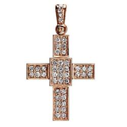 Smaller Size Diamond Cross Pendant 1.65CT in 18K Pink Rose gold