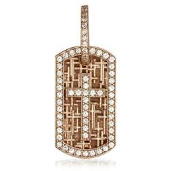 Diamond Cross Dog Tag Pendant with Scattered Cross Texture in 18K Pink Rose gol