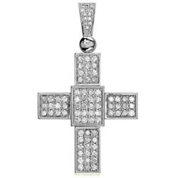 Large Diamond Cross Pendant 2.75CT in 14K White Gold