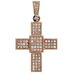 Large Diamond Cross Pendant 2.75CT in 14K Pink Rose Gold