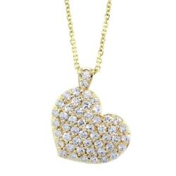 Large Diamond Heart Pendant and Chain 2.10CT in 14K Yellow Gold 16