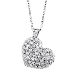 Large Diamond Heart Pendant and Chain 2.10CT in 14K White Gold 16