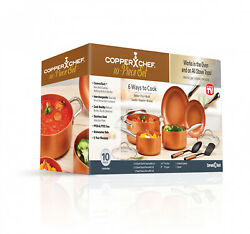 Copper Chef NonStick Coating Cookware Pot and Pan + Lid Set Cooking Set 10 Piece $103.77