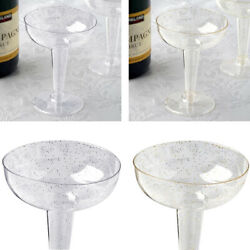 Glittered Clear Champagne GLASSES 6 oz. Fancy Party Wedding Disposable Tableware $11.83