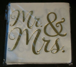 Mr and Mrs Napkins Beverage Cocktail 16 Ct Wedding White Gold Bride Groom Party $1.99