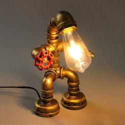 Industrial Iron Pipe Steampunk Table Lamp Vintage Robot Desk Light with Valve $42.99
