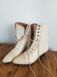 Victorian Vintage leather shoes witchy granny style .good condition costume $32.50