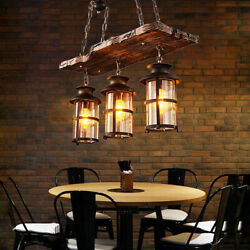 3 Light Rustic Country Chandelier Wood Light Fixture Pendant Industrial Cafe Bar $119.00