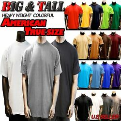 Big and Tall Size Men Plain Heavy Weight S S T shirts Crew Neck 8OZ By jonson $10.95