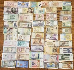 53 Pcs of Different World Currency Foreign Banknotes Lot Uncirculated With BONUS $21.89