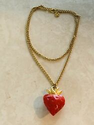 Fabulous GIVENCHY Vintage Lucite Strawberry Necklace Gold tone Chain $195.00