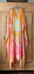 Emilio Pucci~ Pink & Yellow Silk Georgette Kaftan Gown Dress~ Sz OS~ NWOT