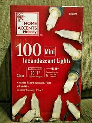 Home Accents Holiday 100 Count Clear Mini Lights Green Wire Indoor Outdoor NIB $2.99