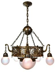 hammered bronze and brass arts and crafts chandelier