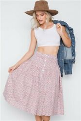 Sexy Floral Button up Full Summer midi skirt New Western prairie peasant skirt $13.05