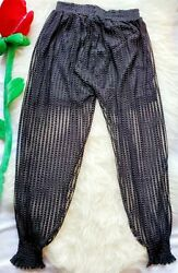 C Mode Black Cinched Ankle Sheer Pants Shorts Sewn In Women#x27;s Size S M $12.99