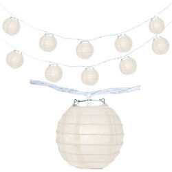 Japanese Chinese 4quot; Paper Lantern Party String Lights Plain White SET of 10 $16.99
