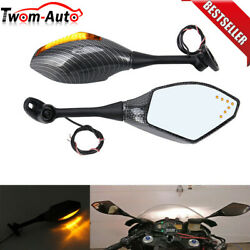 Motorcycle LED Integrated Turn Signal Light Mirrors For Honda CBR600RR 2003-2019