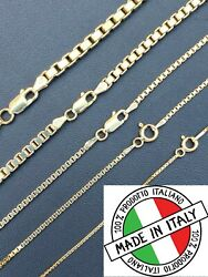 14k Gold Over Real Solid 925 Sterling Silver Box Chain 1 4mm Necklace Men Ladies $31.95